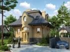 Проект небольшого стильного дома с цоколем, мансардой и гаражом